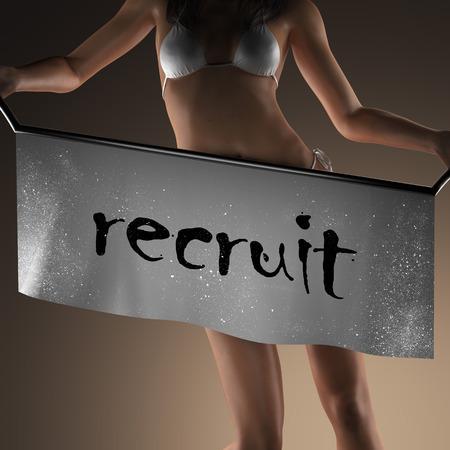 recruit: recruit word on banner and bikiny woman