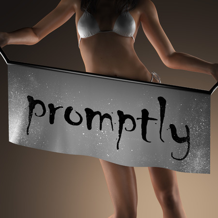 promptly: promptly word on banner and bikiny woman