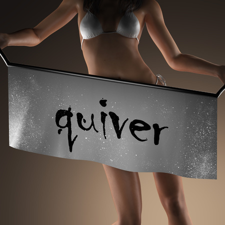 quiver: quiver word on banner and bikiny woman