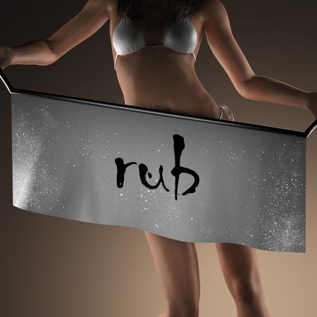 to rub: rub word on banner and bikiny woman
