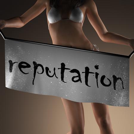 reputation: reputation word on banner and bikiny woman Stock Photo