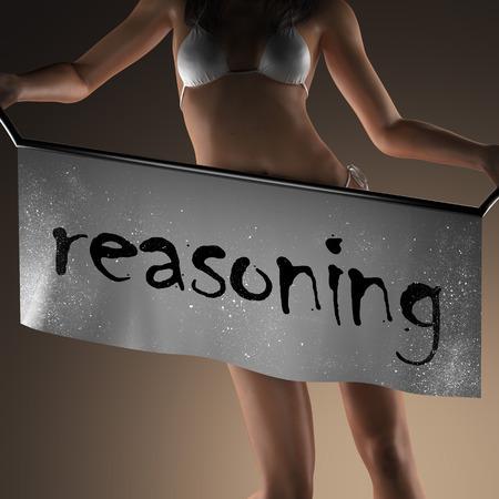 reasoning: reasoning word on banner and bikiny woman