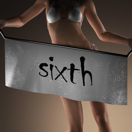 the sixth: sixth word on banner and bikiny woman Stock Photo