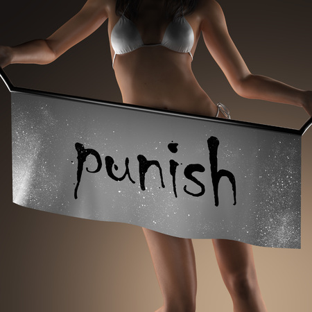 punish: punish word on banner and bikiny woman Stock Photo