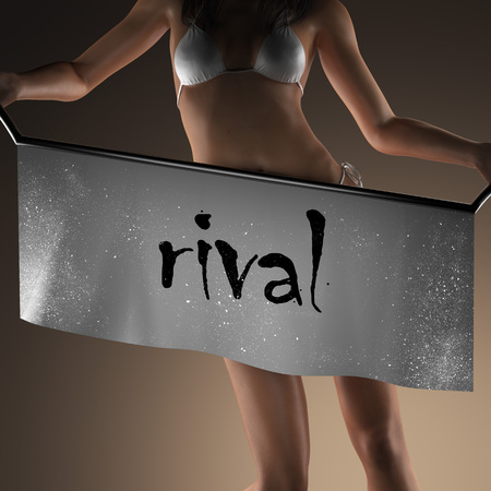 rival: rival word on banner and bikiny woman