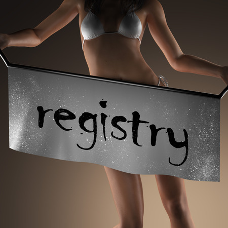 registry: registry word on banner and bikiny woman Stock Photo