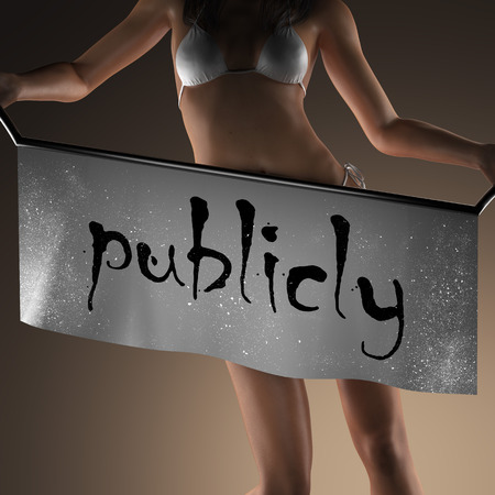 publicly: publicly word on banner and bikiny woman