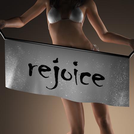 rejoice: rejoice word on banner and bikiny woman