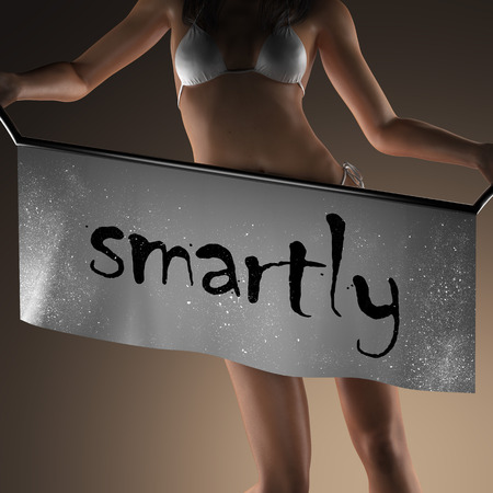smartly: smartly word on banner and bikiny woman