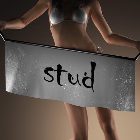 stud: stud word on banner and bikiny woman Stock Photo