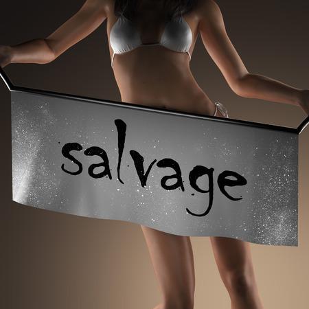 salvage: salvage word on banner and bikiny woman