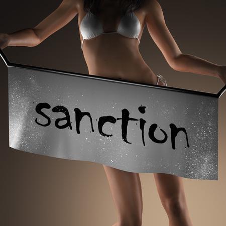 sanction: sanction word on banner and bikiny woman