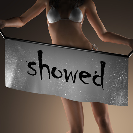 showed: showed word on banner and bikiny woman