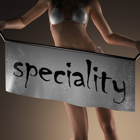 speciality: speciality word on banner and bikiny woman Stock Photo