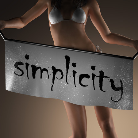 simplicity word on banner and bikiny woman