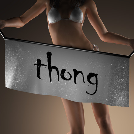 thong woman: thong word on banner and bikiny woman