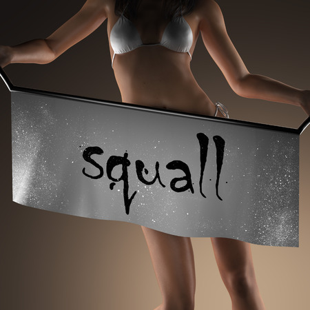 squall: squall word on banner and bikiny woman