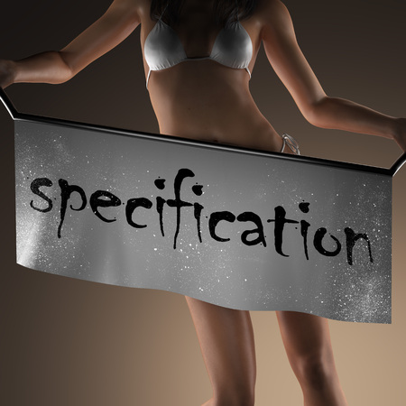 specification: specification word on banner and bikiny woman