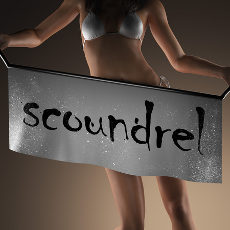 scoundrel: scoundrel word on banner and bikiny woman
