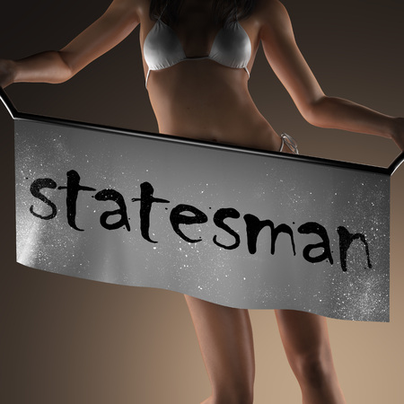 statesman: statesman word on banner and bikiny woman