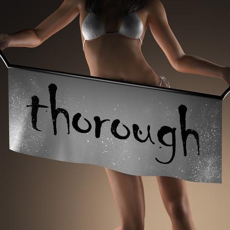thorough: thorough word on banner and bikiny woman