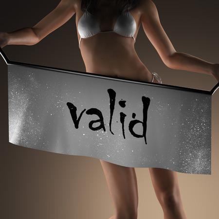valid: valid word on banner and bikiny woman