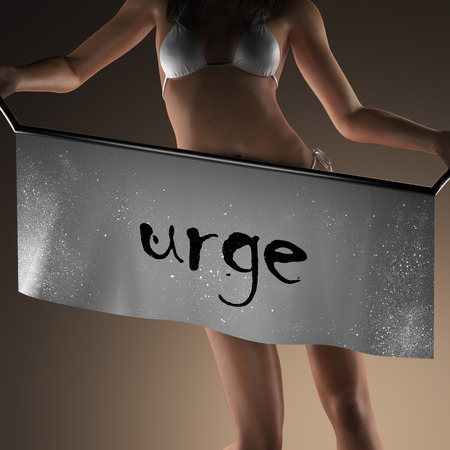 urge: urge word on banner and bikiny woman Stock Photo