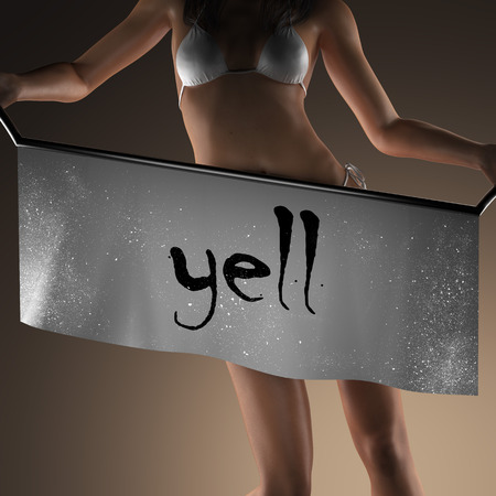 yell: yell word on banner and bikiny woman