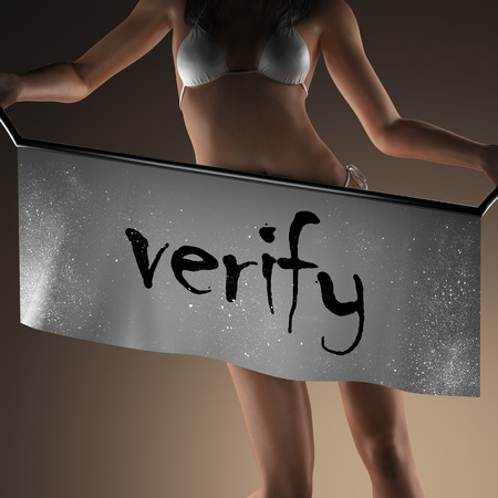 verify: verify word on banner and bikiny woman Archivio Fotografico