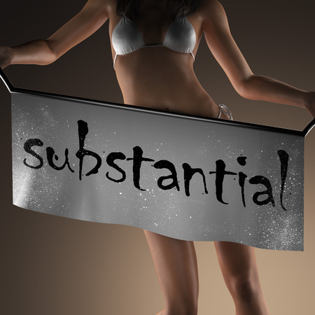 substantial: substantial word on banner and bikiny woman Stock Photo