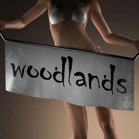 woodlands: woodlands word on banner and bikiny woman