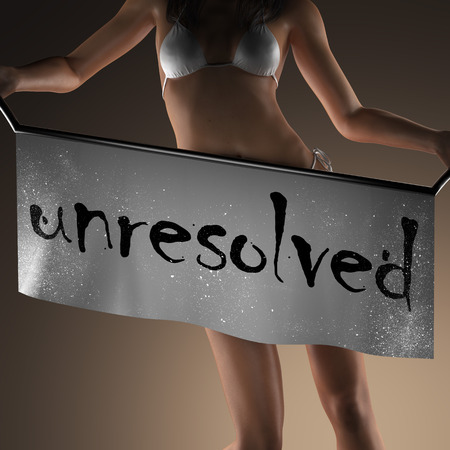 unresolved: unresolved word on banner and bikiny woman