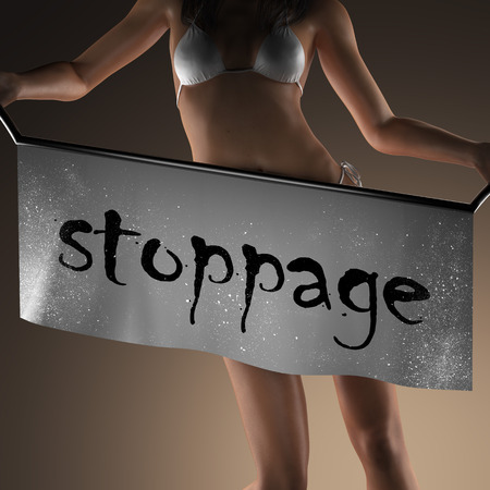 stoppage: stoppage word on banner and bikiny woman