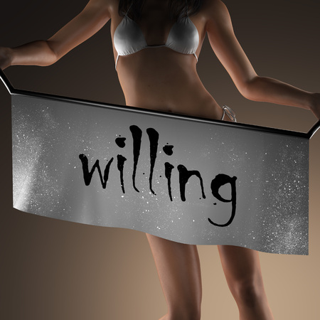 willing: willing word on banner and bikiny woman Stock Photo
