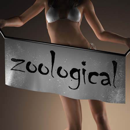 zoological: zoological word on banner and bikiny woman Stock Photo