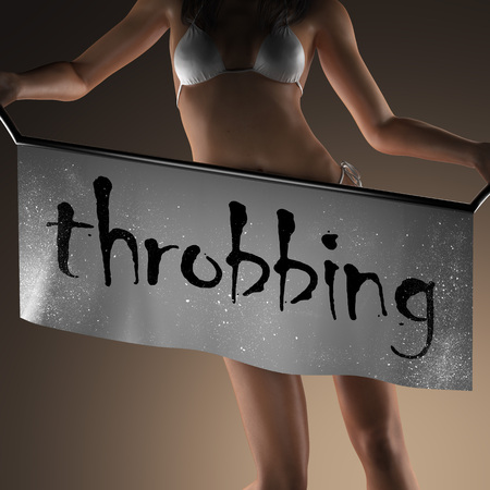 throbbing: throbbing word on banner and bikiny woman Stock Photo