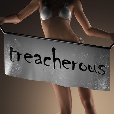 treacherous: treacherous word on banner and bikiny woman