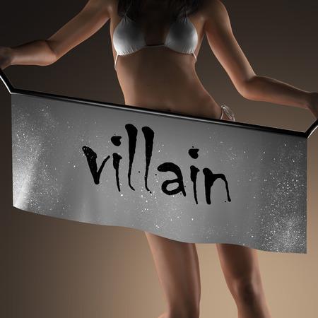villain: villain word on banner and bikiny woman Stock Photo