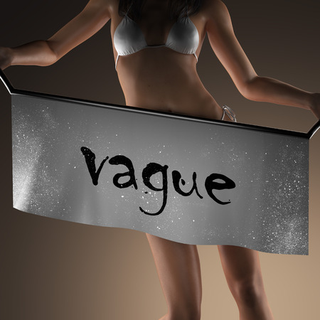 vague: vague word on banner and bikiny woman