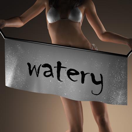 watery: watery word on banner and bikiny woman