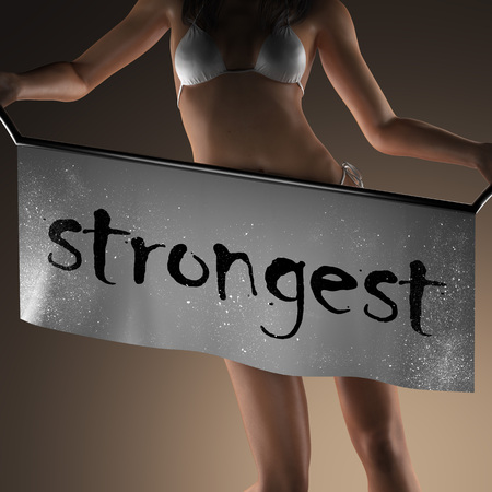 strongest: strongest word on banner and bikiny woman