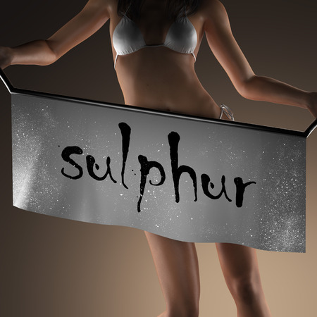 sulphur: sulphur word on banner and bikiny woman