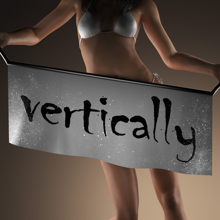 vertically: vertically word on banner and bikiny woman