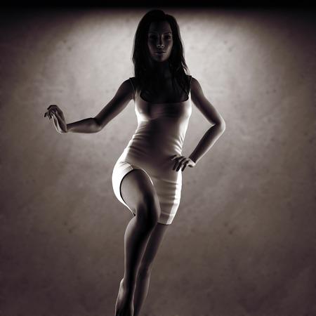 models posing: mujer sexy vestido que presenta cerca de la pared de piedra Foto de archivo