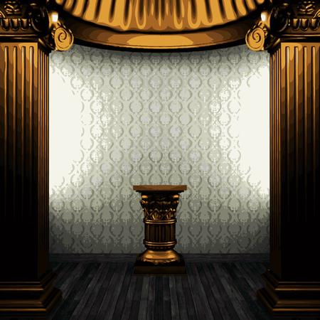 exterior architectural details: vector bronze columns, pedestal and wallpaper