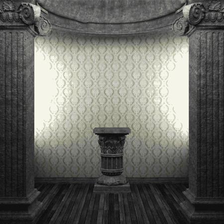pilaster: vector stone columns, pedestal and wallpaper Illustration
