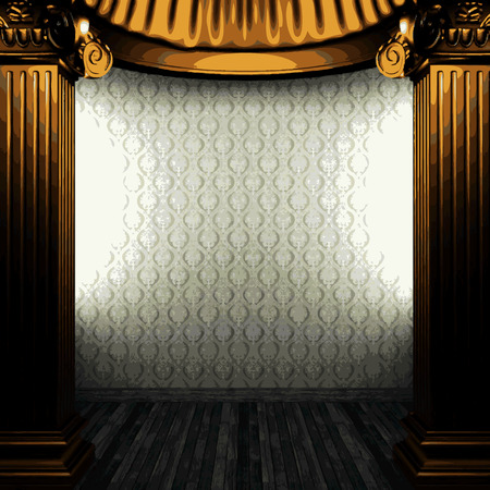 pilaster: vector bronze columns and wallpaper