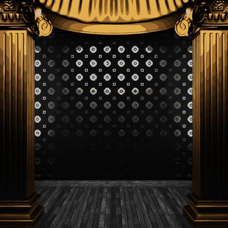 zuilen: vector bronze columns and tile wall Stock Illustratie