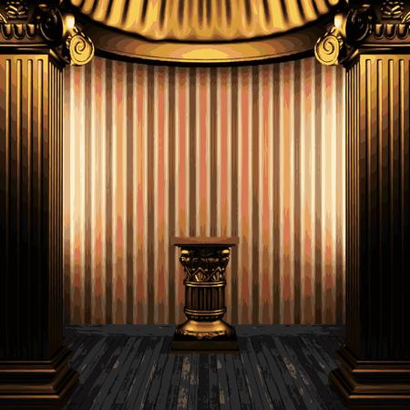 zuilen: vector bronze columns, pedestal and wallpaper