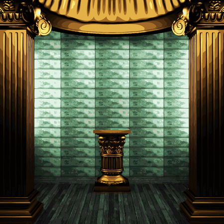 exterior architectural details: vector bronze columns, pedestal and tile wall